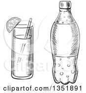 Clipart Of A Black And White Sketched Soda Bottle And Cocktail Royalty Free Vector Illustration