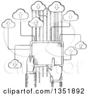 Clipart Of A Black And White Sketched Hand Using A Tablet Computer On The Cloud Royalty Free Vector Illustration by Seamartini Graphics