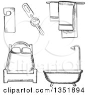Clipart Of Black And White Sketched Hotel Bed Tub And Items Royalty Free Vector Illustration by Vector Tradition SM
