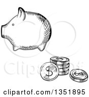 Clipart Of A Black And White Sketched Piggy Bank And Coins Royalty Free Vector Illustration