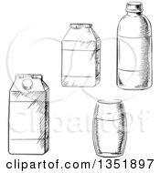 Clipart Of A Black And White Sketched Glass Bottles And Cartons Royalty Free Vector Illustration by Vector Tradition SM