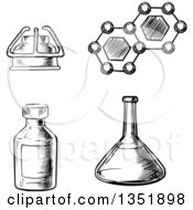 Clipart Of A Black And White Sketched Laboratory Flask Gas Burner Bottle And Formula Of Molecule Royalty Free Vector Illustration