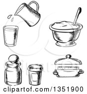 Clipart Of Black And White Sketched Baking Items Royalty Free Vector Illustration