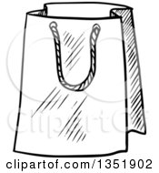 Clipart Of A Black And White Sketched Gift Or Shopping Bag Royalty Free Vector Illustration
