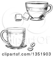 Clipart Of Black And White Sketched Coffee And Tea Cups Royalty Free Vector Illustration