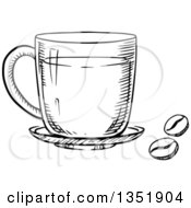 Clipart Of A Black And White Sketched Coffee Cup And Beans Royalty Free Vector Illustration