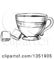 Clipart Of A Black And White Sketched Tea Cup And Sugar Cubes Royalty Free Vector Illustration