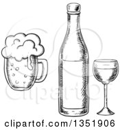 Clipart Of A Black And White Sketched Wine Glass Bottle And Beer Mug Royalty Free Vector Illustration by Vector Tradition SM