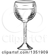 Clipart Of A Black And White Sketched Wine Glass Royalty Free Vector Illustration by Vector Tradition SM