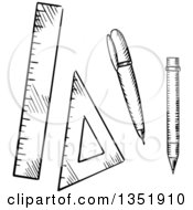 Clipart Of A Black And White Sketched Pencil Ballpoint Pen Triangle And Ruler Royalty Free Vector Illustration by Vector Tradition SM