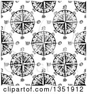 Clipart Of A Seamless Pattern Background Of Black And White Compasses 8 Royalty Free Vector Illustration by Vector Tradition SM
