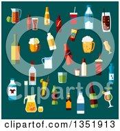 Poster, Art Print Of Flat Design Beverages Over Teal
