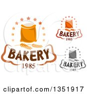 Clipart Of Bakery Text Designs Of Flour Bags And Wheat Royalty Free Vector Illustration by Vector Tradition SM