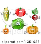 Clipart Of Cartoon Corn Tomato Beet Pumpkin Cabbage And Onion Characters Royalty Free Vector Illustration