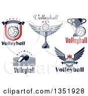 Text And Volleyball Sports Designs