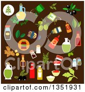Clipart Of Flat Design Condiments Spices And Foods Over Brown Royalty Free Vector Illustration
