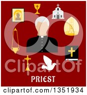 Clipart Of A Flat Design Priest Avatar Surrounded By Items Over Text On Red Royalty Free Vector Illustration