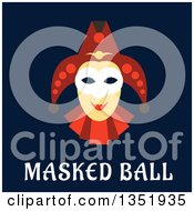 Clipart Of A Flat Design Carnival Jester Over Masked Ball Text On Blue Royalty Free Vector Illustration by Vector Tradition SM