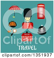 Clipart Of A Flat Design British Beefeater Soldier Telephone Booth Police Helmet Detective Cap Pipe And Magnifier Umbrella And Old Building Over Text On Turquoise Royalty Free Vector Illustration by Vector Tradition SM