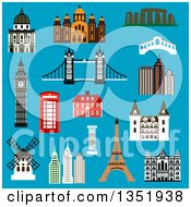 Clipart Of Flat Design France United Kingdom Greece USA Australia And Italy Landmarks On Blue Royalty Free Vector Illustration