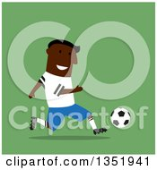 Clipart Of A Flat Design Black Male Soccer Player Running Over Green Royalty Free Vector Illustration by Vector Tradition SM