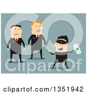 Clipart Of Flat Design Caucasian Security Guards Catching A Robber Stealing Money Over Blue Royalty Free Vector Illustration