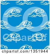 Clipart Of A Seamless Background Pattern Of White Waves Over Blue 4 Royalty Free Vector Illustration