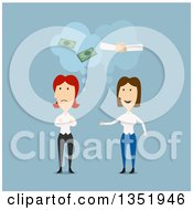 Clipart Of Flat Design White Business Women Discussing Partnership Over Blue Royalty Free Vector Illustration