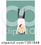 Clipart Of A Flat Design White Businessman Doing A Hand Stand Over Green Royalty Free Vector Illustration