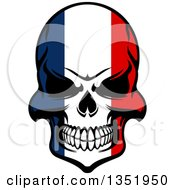 Poster, Art Print Of Grinning Evil Skull In French Flag Colors