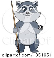 Poster, Art Print Of Cartoon Raccoon Holding A Billiards Eight Ball And Cue Stick