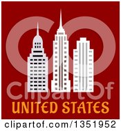 Flat Design American Skyscrapers Over Text On Red