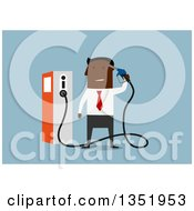 Clipart Of A Flat Design Black Businessman Holding A Gas Pump Nozzle Over Blue Royalty Free Vector Illustration by Vector Tradition SM