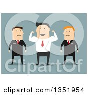 Clipart Of A Flat Design White Businessman Flexing His Muscles Between His Guards Over Blue Royalty Free Vector Illustration