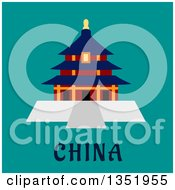 Clipart Of A Flat Design Ancient Chinese Temple Of Heaven Pagoda Over Text On Turquoise Royalty Free Vector Illustration by Vector Tradition SM
