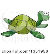 Clipart Of A Cartoon Green Sea Turtle Swimming Royalty Free Vector Illustration