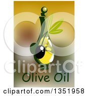Clipart Of A Bottle Of Olive Oil Over Text And Blur Royalty Free Vector Illustration
