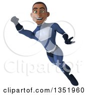Clipart Of A 3d Young Black Male Super Hero Flying In A Dark Blue Suit Royalty Free Illustration