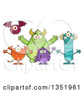 Clipart Of A Group Of Welcoming Monsters Royalty Free Vector Illustration by Hit Toon