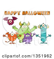 Clipart Of A Group Of Welcoming Monsters Under Happy Halloween Text Royalty Free Vector Illustration