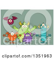 Clipart Of A Group Of Welcoming Monsters Over Green Royalty Free Vector Illustration