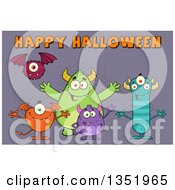 Clipart Of A Group Of Welcoming Monsters Under Happy Halloween Text Over Purple Royalty Free Vector Illustration