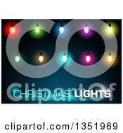 Clipart Of Christmas Lights And Text Over Blue Royalty Free Vector Illustration