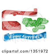 Clipart Of Red Green And Blue Christmas Greeting Banners Over Shaded White Royalty Free Vector Illustration by dero