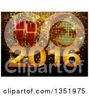 Clipart Of 3d Champagne Glasses With New Year 2016 Over A Gold Disco Ball And Mosaic Royalty Free Vector Illustration by elaineitalia