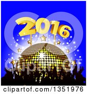 Clipart Of A Silhouetted Crowd Of Hands Over A 3d Gold Disco Ball Stars And New Year 2016 On Blue Royalty Free Vector Illustration by elaineitalia