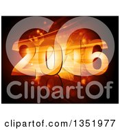 Clipart Of 2016 New Year Numbers Over A Golden Burst With Flares Royalty Free Vector Illustration