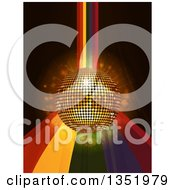 Clipart Of A 3d Gold Disco Ball Over A Rainbow Cuve And Flares On Black Royalty Free Vector Illustration