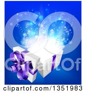 Clipart Of A 3d White And Purple Open Gift Box With Magic Over Blue Royalty Free Vector Illustration