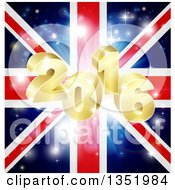 Clipart Of A 3d Gold 2016 New Year Burst And Fireworks Over A Union Jack Flag Royalty Free Vector Illustration by AtStockIllustration